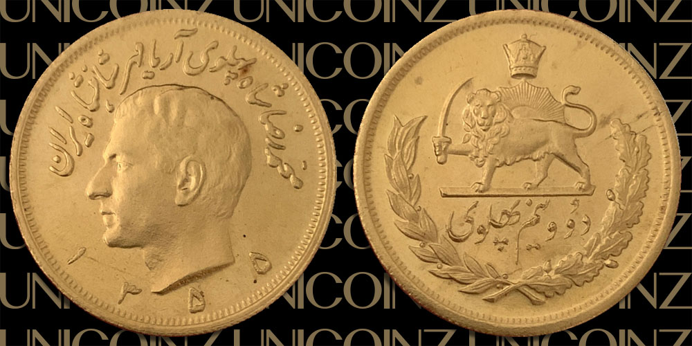 Two and Half Pahlavi Coin, Bank Issued<br>900 Gold, SH1355 (1976), 20.28g, 30mm